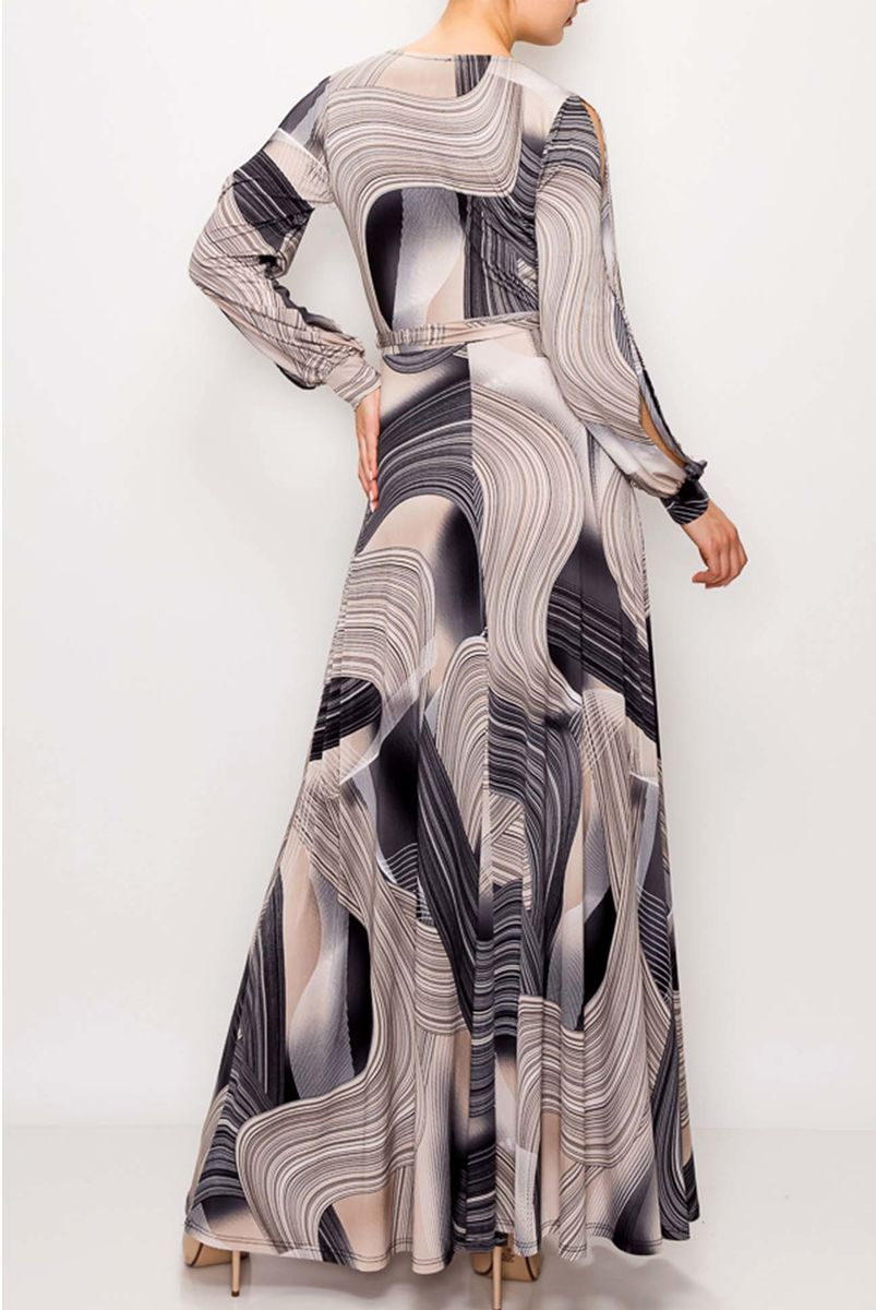 Swirl in black gray long split cuff sleeve maxi wrap dress  - product images  of
