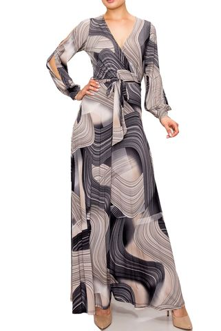 Swirl,in,black,gray,long,split,cuff,sleeve,maxi,wrap,dress,red apparel, Swirl in black gray long split cuff sleeve maxi wrap dress  , wrap dress