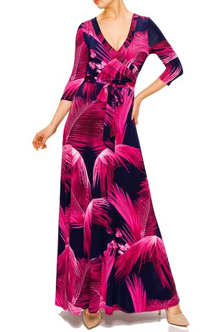 Tropical,neon,pink,in,navy,maxi,wrap,dress,red apparel, Janette fashion, Janette, Tropical neon pink in navy maxi wrap dress