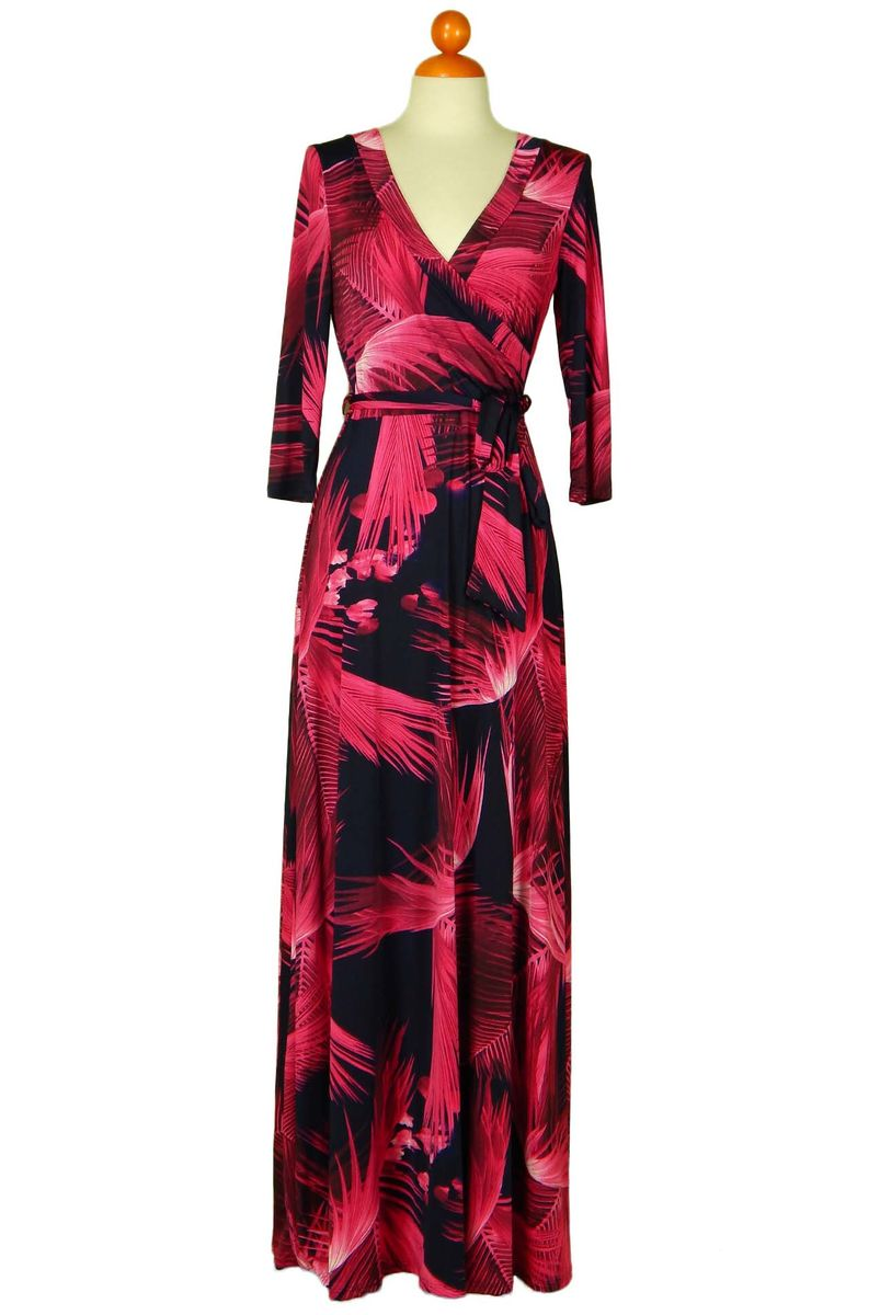 Tropical neon pink in navy maxi wrap dress - product images  of