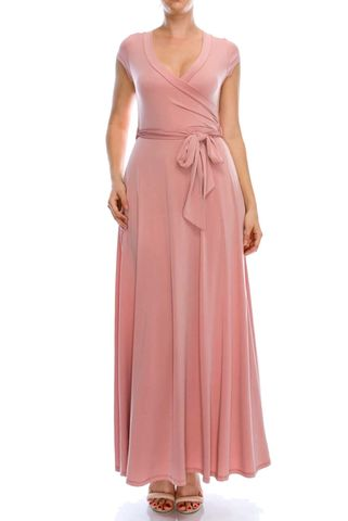 Solid,blush,cap,sleep,maxi,wrap,dress,Solid blush cap sleep maxi wrap dress , redapparelonline, 6ws, Janette fashion, Janette, Maxi wrap dress, wrap dress, work dress, vacation dress, affordable wrap dress