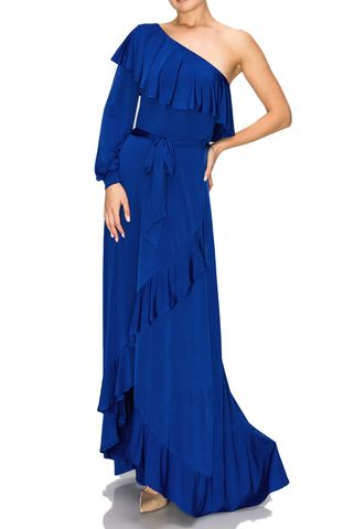 Royal,blue,one,shoulder,ruffle,maxi,dress,Royal blue one shoulder ruffle maxi dress , red apparel, janette fashion, Janette fashion jumpsuit, Janette jumpsuitjamper