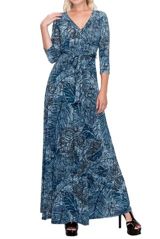 Blue,palm,maxi,wrap,dress,red apparel, Janette fashion, Janette, Blue palm maxi wrap dress