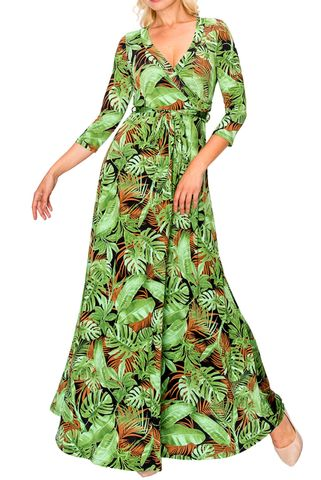 Forest,palm,maxi,wrap,dress,Forest palm maxi wrap dress  , redapparelonline, 6ws, Janette fashion, Janette, Maxi wrap dress, wrap dress, work dress, vacation dress, affordable wrap dress