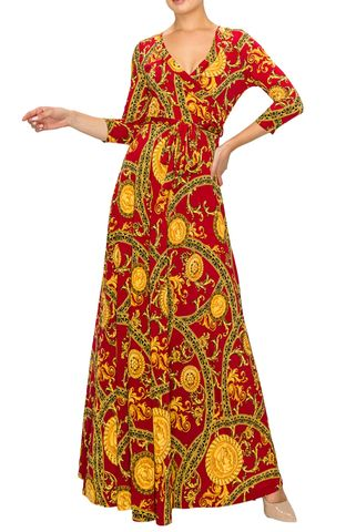 Romanian,in,burgundy,gold,maxi,wrap,dress,Romanian in black gold maxi wrap dress  , red apparel, redapparelonline, 6ws, Janette fashion, Janette, Maxi wrap dress, wrap dress. work dress, vacation dress, affordable dress