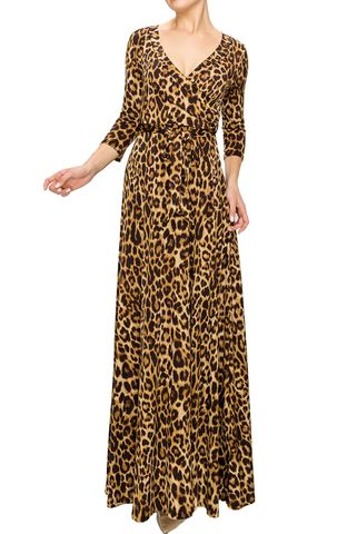 Leopard,maxi,wrap,dress,red apparel, Janette fashion, Janette, Janette fashion leopard maxi wrap dress, wrap dress