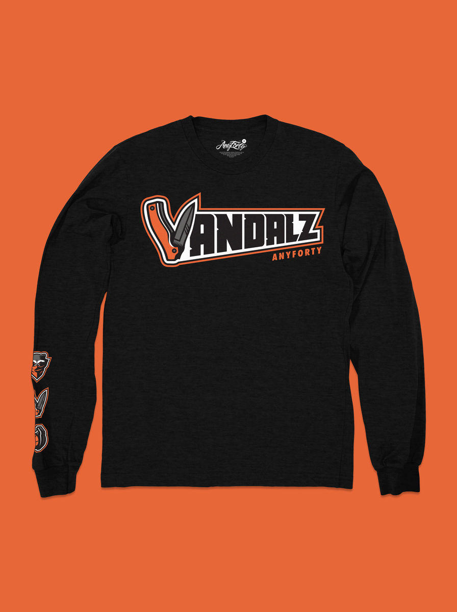 AnyForty x VanilaBCN - Vandalz Jackknife Long Sleeve Tee - Black - product image