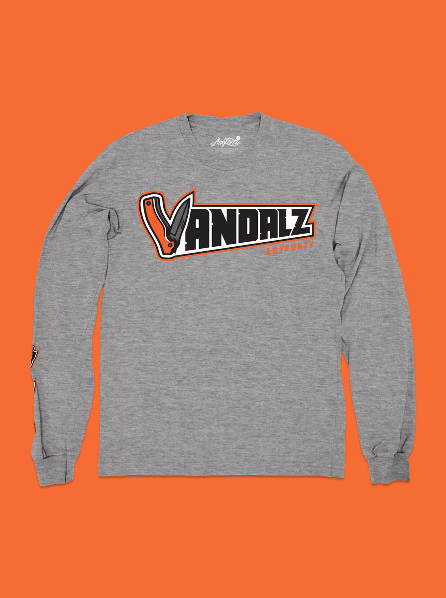 AnyForty x VanilaBCN - Vandalz Jackknife Long Sleeve Tee - Athletic Grey - product image