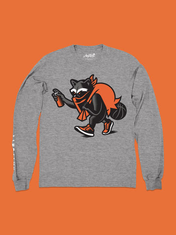AnyForty,x,VanilaBCN,-,Vandalz,Mascot,Long,Sleeve,Tee,Athletic,Grey, Vandalz, VanilaBCN