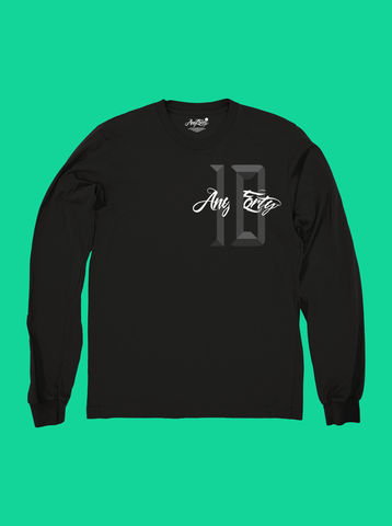 AnyForty,10th,Anniversary,-,Black,Long,Sleeve,Tee, Ident, Logo, 10th Anniversary, Long sleeve tee