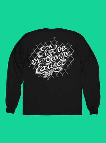 AnyForty,x,Mark,Verhaagen:,Evolve,or,become,Extinct,-,Black,Long,Sleeve,Tee, Ident, Logo, 10th Anniversary, Evolve or become Extinct, Mark Verhaagen