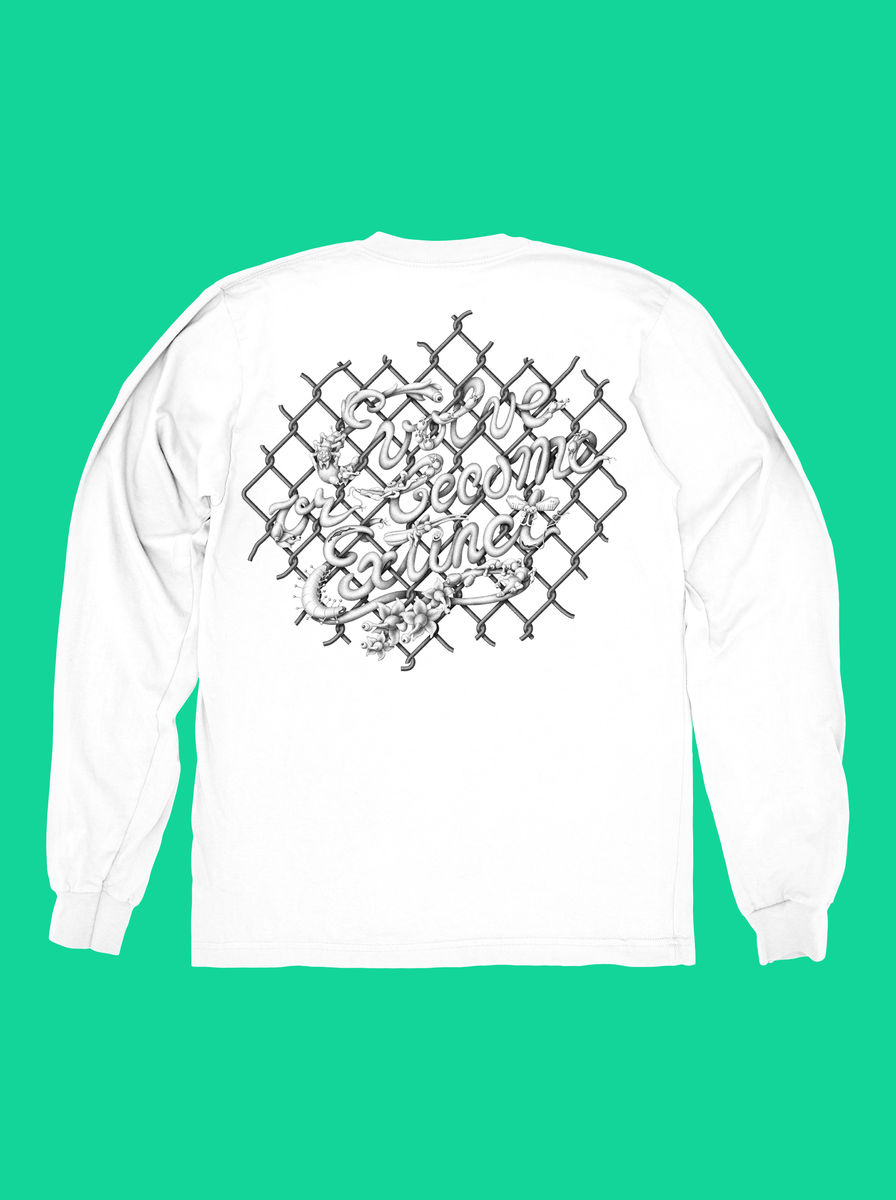 AnyForty x Mark Verhaagen: Evolve or become Extinct - White Long Sleeve Tee - product images  of