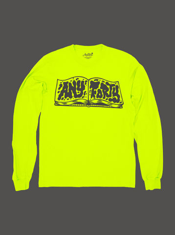 10,Summers:,AnyForty,Idents,-,RichT,Refix,Neon,Yellow,Long,Sleeve,Tee, Ident, Logo, 10th Anniversary, RichT Refix, Neon