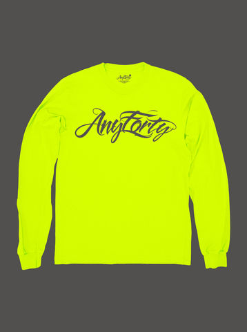 10,Summers:,AnyForty,Idents,-,Hydro,Script,Neon,Yellow,Long,Sleeve,Tee, Ident, Logo, 10th Anniversary, Hydro74, Neon
