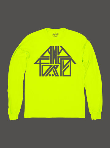 10,Summers:,AnyForty,Idents,-,45RPM,Refix,Neon,Yellow,Long,Sleeve,Tee, Ident, Logo, 10th Anniversary, 45RPM, Neon