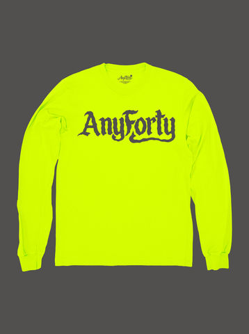 10,Summers:,AnyForty,Idents,-,Ben,Brown,Refix,Neon,Yellow,Long,Sleeve,Tee, Ident, Logo, 10th Anniversary, Ben Brown, Neon