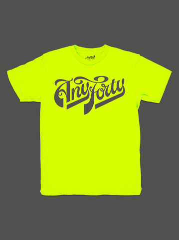 10,Summers:,AnyForty,Idents,-,Ash,Willerton,Refix,Neon,Yellow,Short,Sleeve,Tee, Ident, Logo, 10th Anniversary, Ash Willerton, Refix, Neon