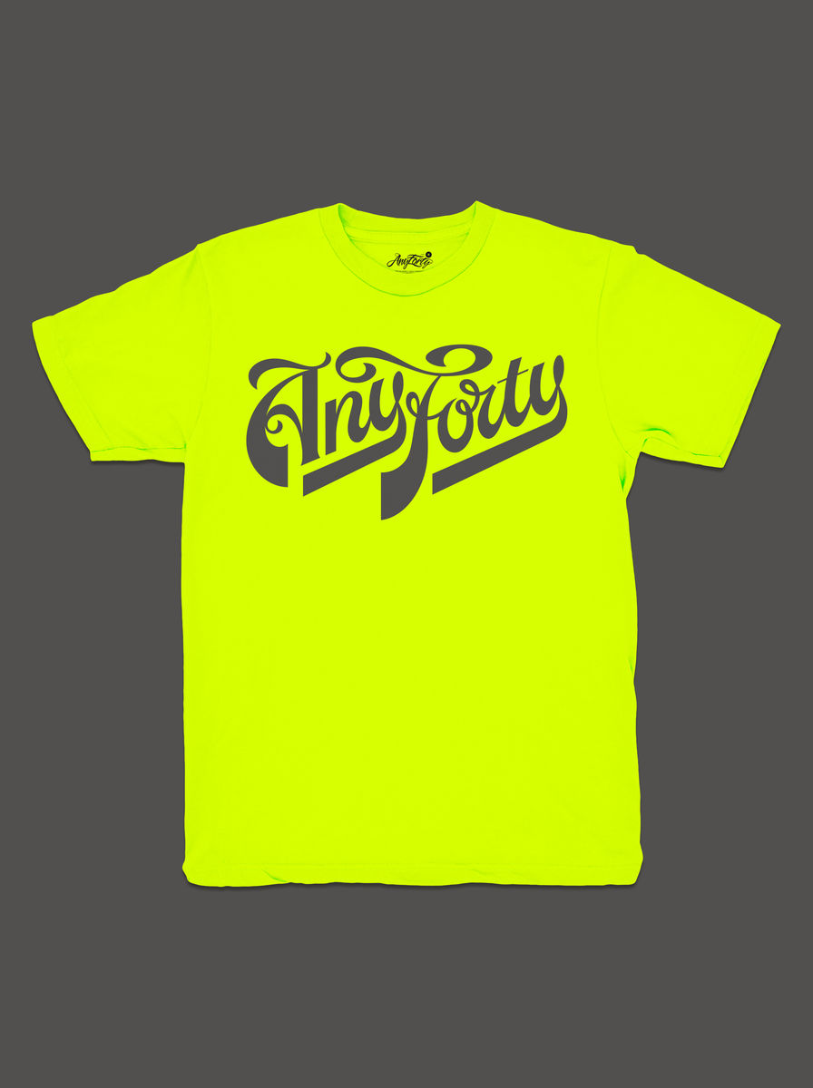 10 Summers: AnyForty Idents - Ash Willerton Refix - Neon Yellow Short Sleeve Tee - product image