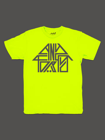 10,Summers:,AnyForty,Idents,-,45RPM,Refix,Neon,Yellow,Short,Sleeve,Tee, Ident, Logo, 10th Anniversary, 45RPM, Refix, Neon