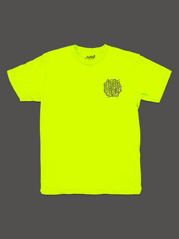 10,Summers:,AnyForty,Idents,-,Family,Neon,Yellow,Short,Sleeve,Tee, Ident, Logo, 10th Anniversary, Andre Beato, AnyForty Family, Neon