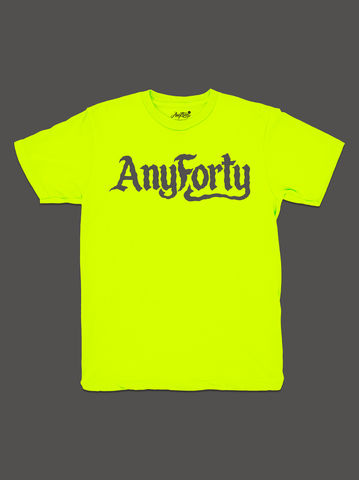 10,Summers:,AnyForty,Idents,-,Ben,Brown,Refix,Neon,Yellow,Short,Sleeve,Tee, Ident, Logo, 10th Anniversary, Ben Brown, Refix, Neon