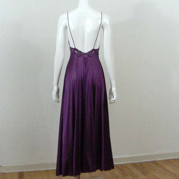 80s Miss Elaine Strappy Plum Gown S M Pretty Sweet Vintage