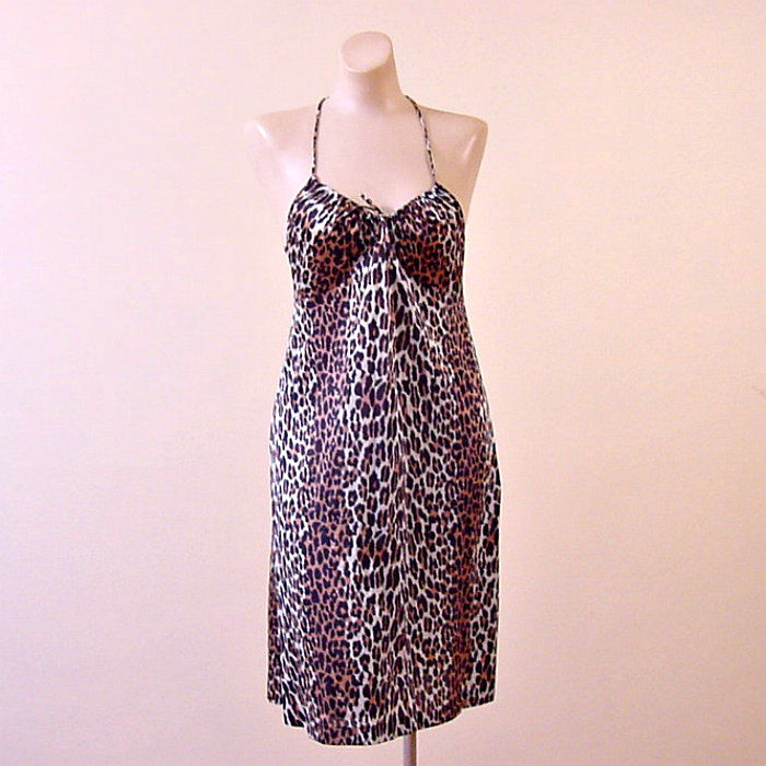 373a3cc59d4 60s Vanity Fair Racer Back Leopard Print Nightgown 32b - product image