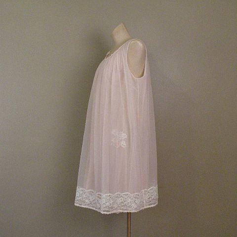 60s,Vanity,Fair,Pink,Angel,Gown,Medium,1960s, 60s, vintage, lingerie, gown, nightgown, short, pink, white, lace, chiffon, ribbon, Mad Men, Betty Draper, romantic, sensual, sweetiepievintage, sweetie pie vintage, pretty sweet vintage, prettysweetvintage, Vanity Fair