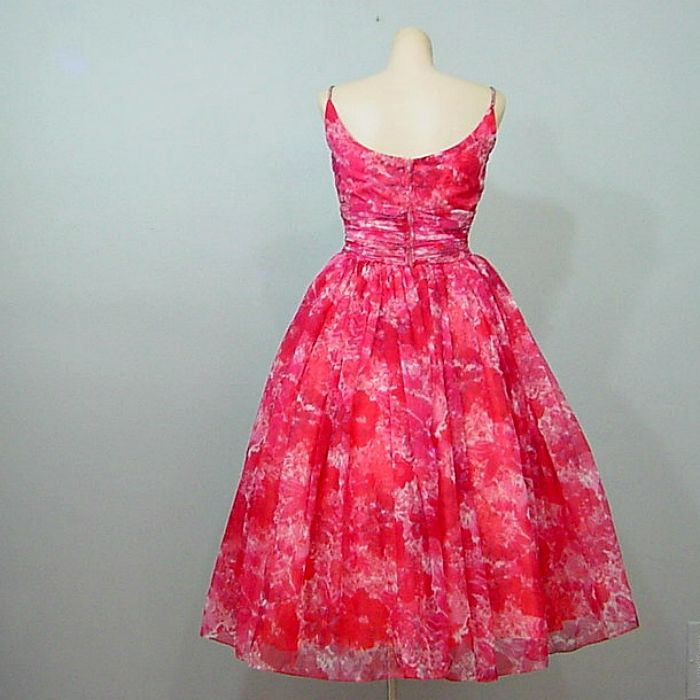 Saks Fifth Avenue Wedding Gowns: 50s Saks Fifth Avenue Floral Chiffon Party Dress 36B/25W