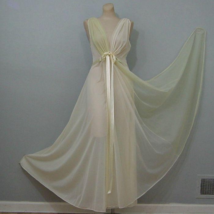 50s Vanity Fair Lemon Pastel Long Gown 34b Pretty Sweet