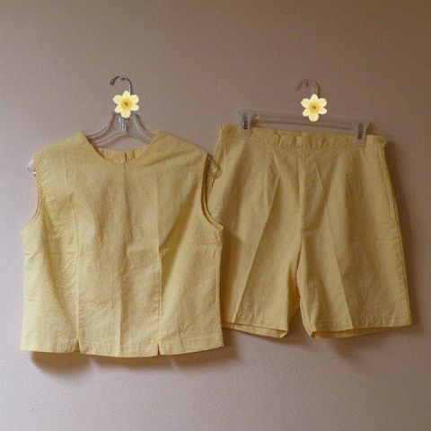 60s,Summer,Jamaica,Shorts,Set,1960s, 60s, vintage, top, blouse, shorts, Jamaica, set, yellow, jacquard, ivy, Made in Japan, summer