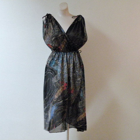 70s,80s,Starry,Night,Dress,Medium,38,1970s, 70s, 1980s, 80s, vintage, dress, party, evening, starry night, van gogh, frothy, sheer, drapey, wrap, drawstring