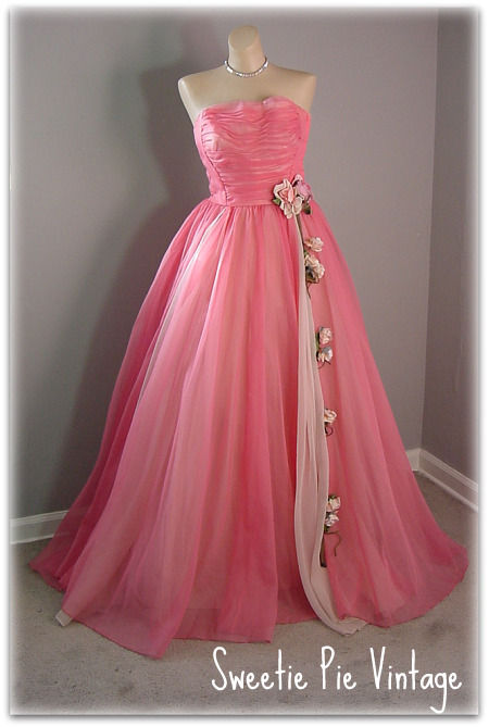 50s Will Steinman Pink Floral Prom Dress Pretty Sweet