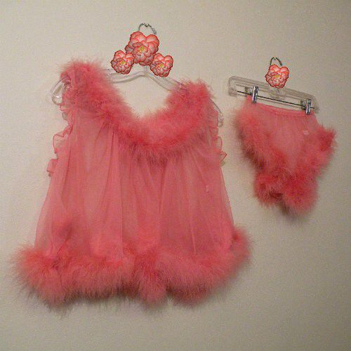 60s Fantasy Feathers Baby Doll Set Small Pretty Sweet