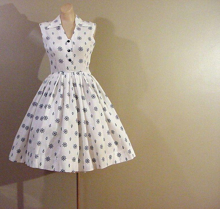 50s Nautical Theme Full Skirt Dress Pretty Sweet Vintage