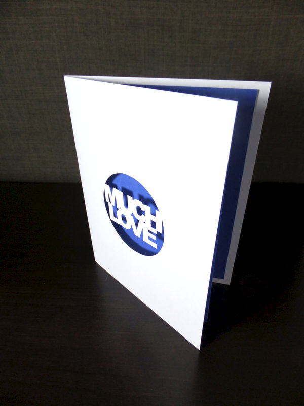 Much Love Blue Cutout Peekaboo Card, Anniversary Wedding Valentine's Day Greeting Card - product image
