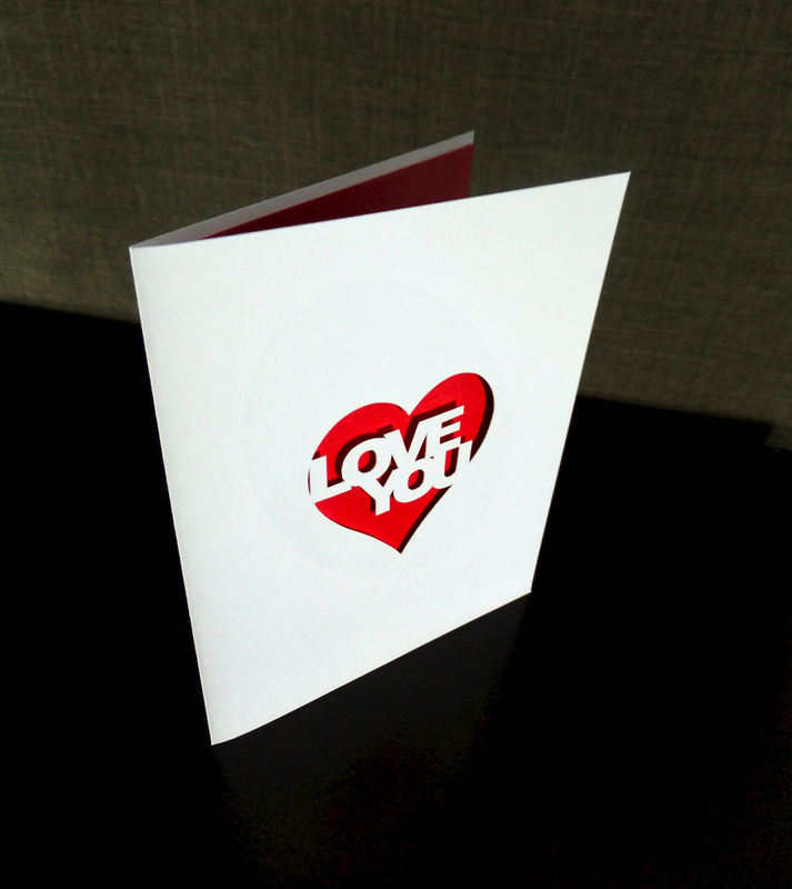 Love You Heart Greeting Card, Cutout Anniversary Wedding Valentine's Card - product image
