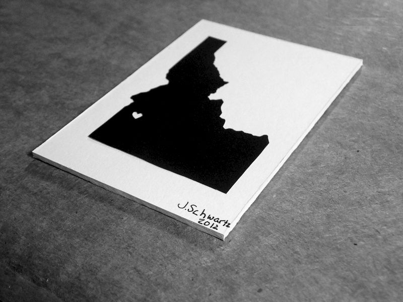 Idaho Love - Idaho State Heart Art, Idaho Silhouette, Idaho Paper Cutting, State Silhouette Art, Custom Heart State, Custom City Heart Art - product image