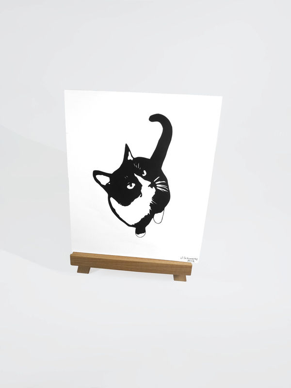 Cat Silhouette Art - Black and White Cat Art, Tuxedo Cat Art, Cat Wall Art, Feline Wall Art, Kitty Art, Cat Papercutting, Cat Papercut - product image