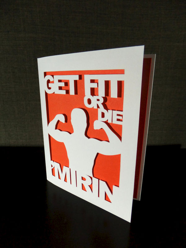 Get Fit or Die Mirin Funny Greetin Card, Fitness Lover Gift Workout Fitfam Musclehead Gym Bro Personal Trainer - product image
