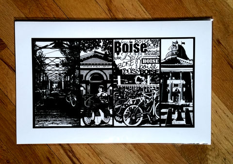 Boise,Bicycle,Friendly,Community,Print,Art print, black and white art, boise art, boise prints, boise landmarks, boise local art, boise handmade, boise, boise carnegie library, boise 9th street bridge, boise capitol