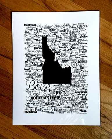 Idaho,Cities,Print,Art print, black and white art, idaho art, idaho prints, idaho cities, idaho local art, idaho handmade, idaho, boise, boise art, coeur d'alene art, mountain home art