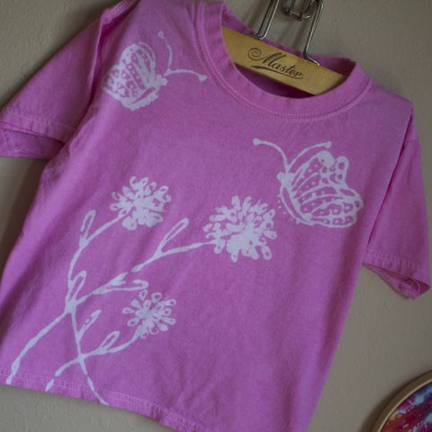 Butterfly,&,flower,tshirt,hot air balloon, flying, let's touch the sky, balloonist, hand dyed, custom tee