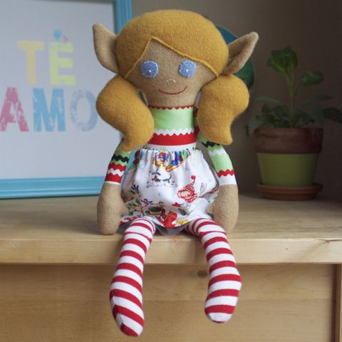 Ruby,-,Large,handcrafted,elf,doll,rag doll, handmade toy, christmas, kindness elf, christmas elf, fancy doll, upcycled toy, upcycle, repurpose, ecotoy, ecofriendly toy, ecofriendly nursery