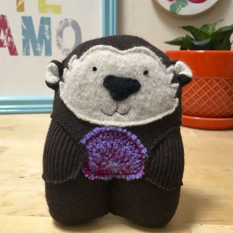 Bertie,-,Wool,Plush,Otter,with,urchin, sea otter, otter, ecofriendly, handmade toy ,handmade plush, wool, baby gift, ocean