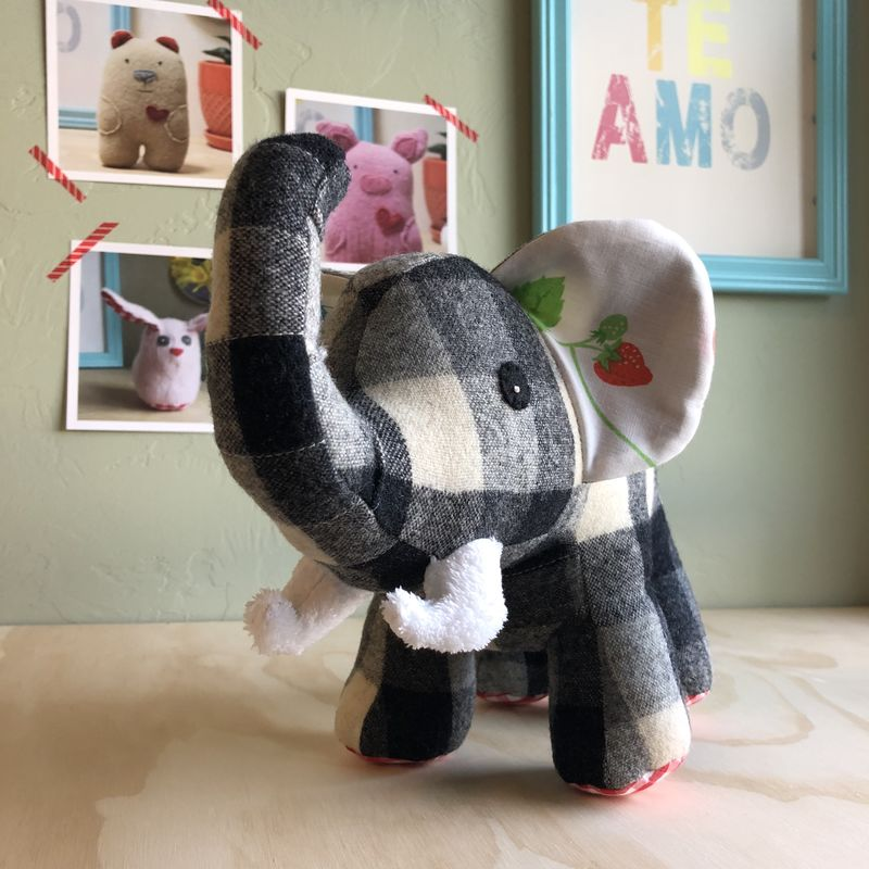 Bess - upcycled plush elephant - product image