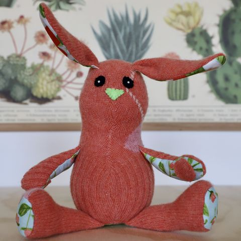 Emmaline,-,wool,handmade,rabbit,plush rabbit,cashmere,eco friendly stuffed toy,easter bunny,unique bunny toy,plush bunny,stuffed rabbit