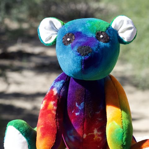 Rainbow,Teddy,Bear,-,Limited,Edition,2018,Lily,&,Gus,and,Shanna's,Tie,Dye,teddy bear, plush, handmade plush, ecotoy, organic toy, tie dye