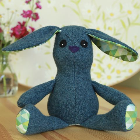 Luca,-,upcycled,wool,rabbit,easter bunny, plush, ecotoy, sustainable design, upcycle, eco friendly toys, easter basket, rabbit