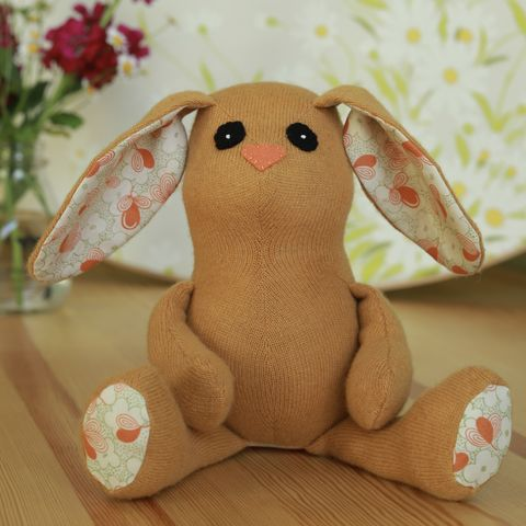 Sol,-,upcycled,wool,rabbit,easter bunny, plush, ecotoy, sustainable design, upcycle, eco friendly toys, easter basket, rabbit,